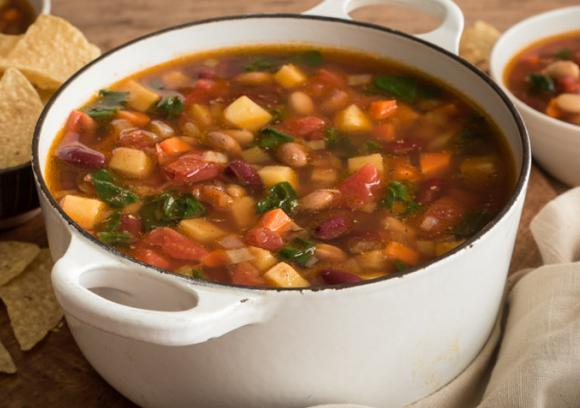 Farmhouse Bean Soup Parsnips and Greens