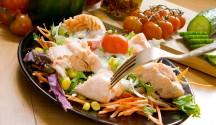 Grilled Salmon Salad with Tzatziki-Feta Dressing