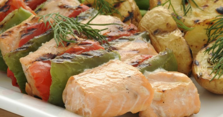 Lemon and Dill Salmon Kebabs