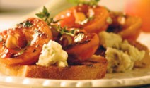 Grilled Apricots with Smoky Blue Cheese and Almonds