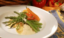 Roasted Asparagus and White Cheddar Béchamel with Hazelnut-crusted Ravioli