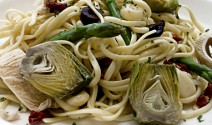 Linguini with Artichokes and Caramelized Onions