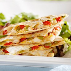 Chicken Quesadillas with Salad and Chipotle-Lime Dressing