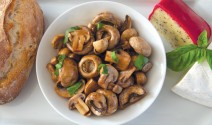 Garlic Poached Mushrooms with Fresh Basil