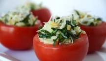 Stuffed Tomatoes with Pesto and Orzo