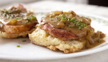 Cornmeal Angel Biscuits with Ham and Red-Eye Gravy
