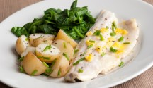 Poached Fish with Corn and Chive Vinaigrette
