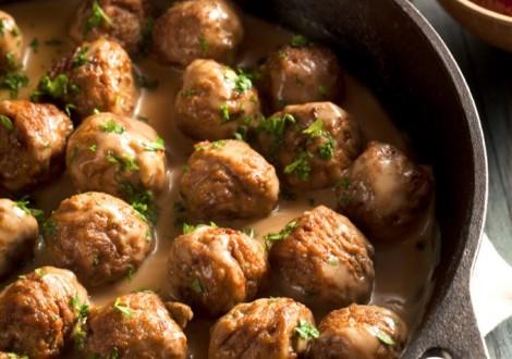 Homemade Swedish Meatballs with Cream Sauce and Parsley