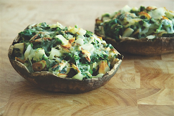 Spinach And Almond Stuffed Portobello Mushrooms Recipe Co Op Welcome To The Table