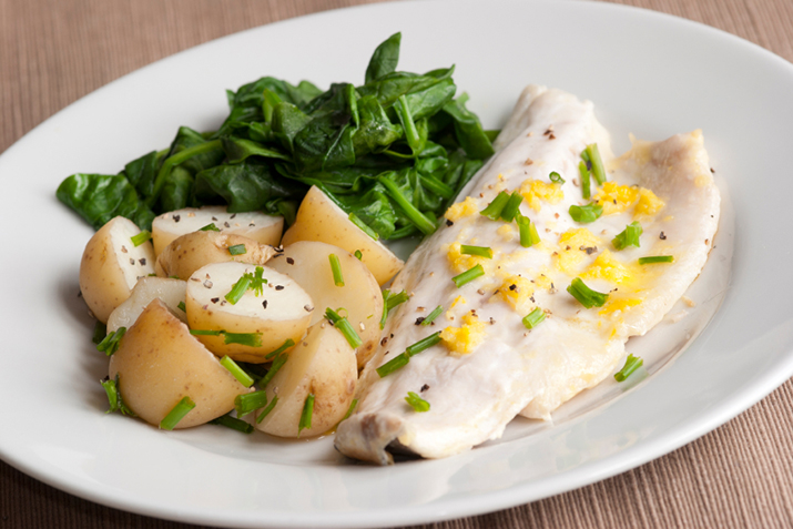 Poached fish with corn and chive vinaigrette recipe co for Poaching fish in wine